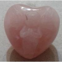 Розов кварц сърце - ангелче